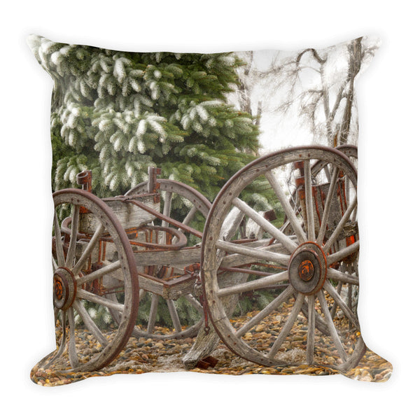 Wagon in Winter Throw Pillow
