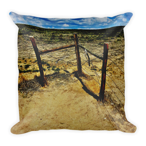 Dry Desert Fenceline Throw Pillow