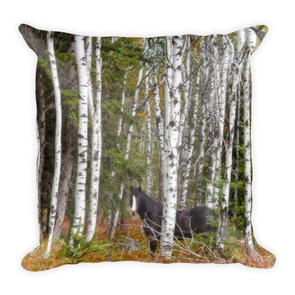 Black and White in Aspen Throw Pillow
