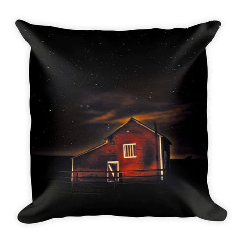 Red Barn at Midnight Throw Pillow