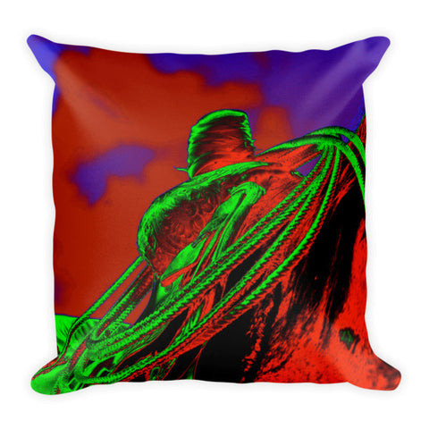 Saddle Electric Red Throw Pillow