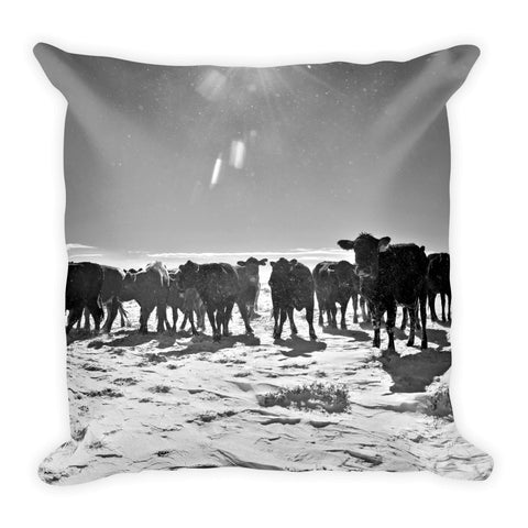 Heifers in the Snow Throw Pillow