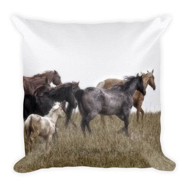Running on November's Wind Throw Pillow