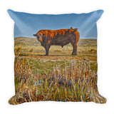 Pigtail Bull Throw Pillow