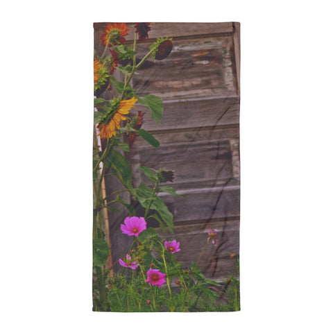 Old Kitchen Door and a Cottage Garden Beach Blanket