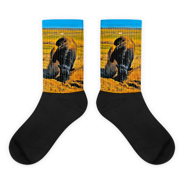 Saturated Sand Wave - Black foot socks