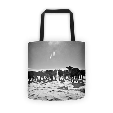 Heifers in the Snow Tote Bag