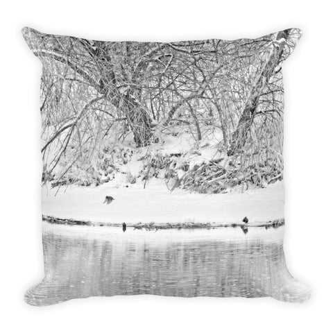 Winter Scene on the Platte River Throw Pillow