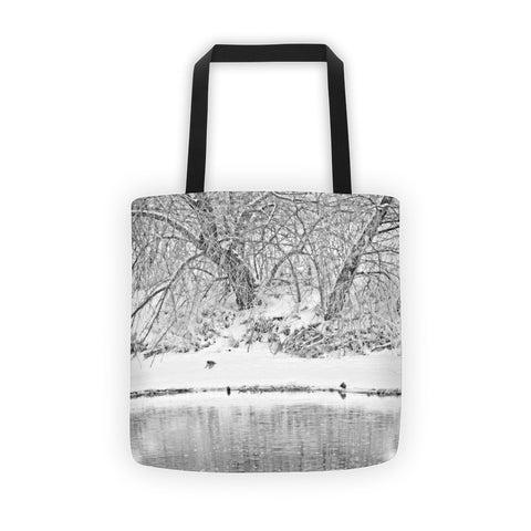 Winter Scene on the Platte River Tote bag