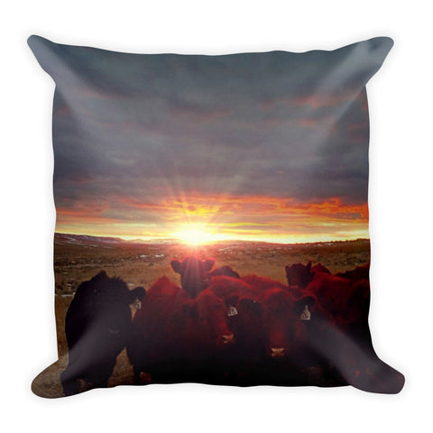 Winter Sunset at Night Feed Throw Pillow