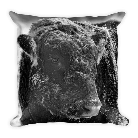 Snow Covered Ice Bull Throw Pillow