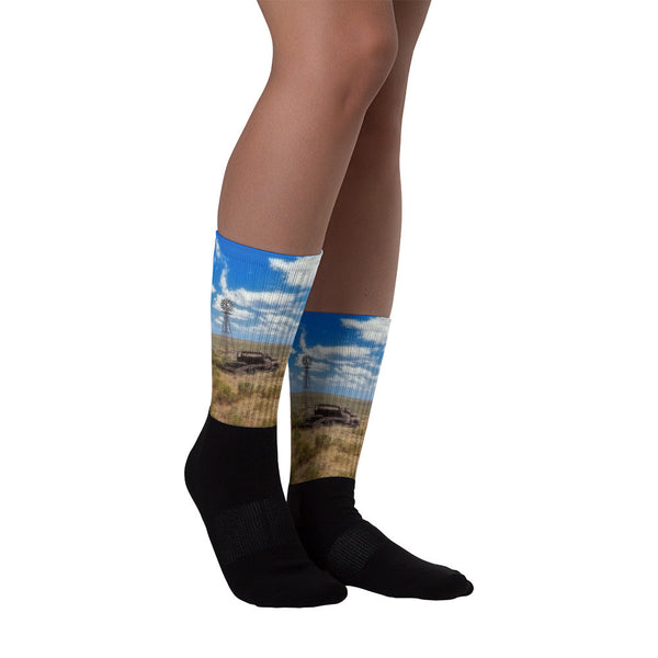 Windmill Over Lenzen - Black foot socks