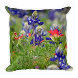 Blue Bonnets and a Paintbrush Throw Pillow