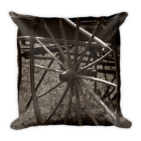 Wagon and Wheel Throw Pillow