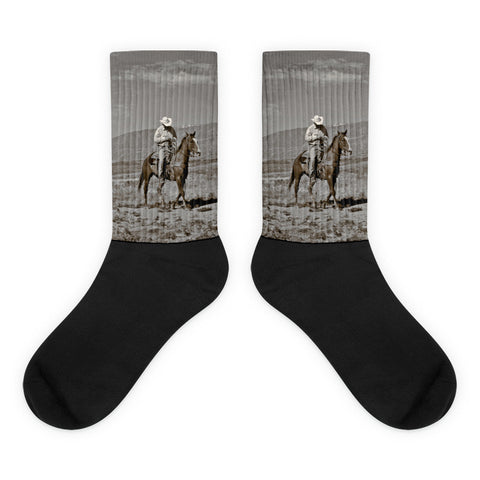 Those Wild Montana Skies - Black foot socks