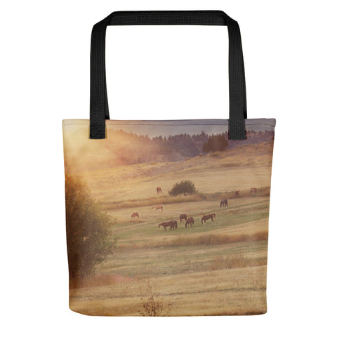 Sunset and Horses Tote bag