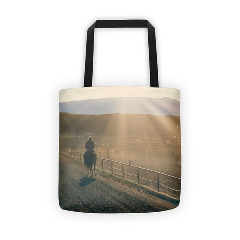 Checking the Lot at Sunset Tote bag