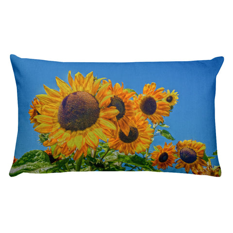 Sun and Flower Conversation Rectangular Pillow