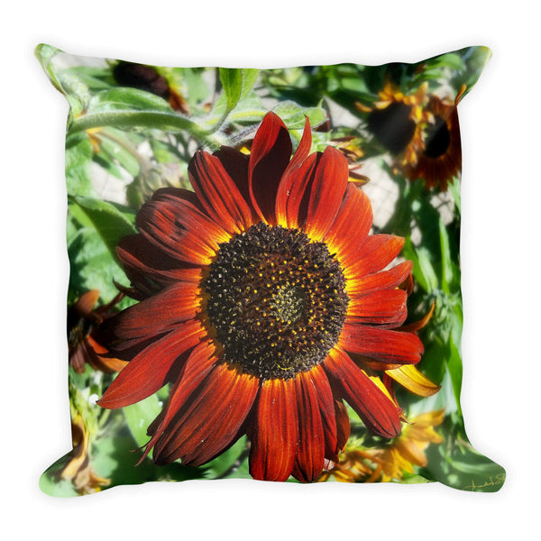 Hearts on Fire Sunflower Throw Pillow
