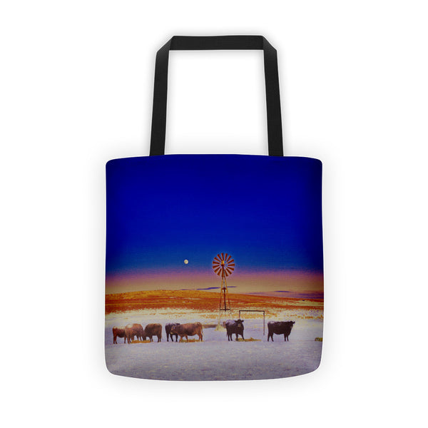 Windmill and Cows Night Feed Tote bag