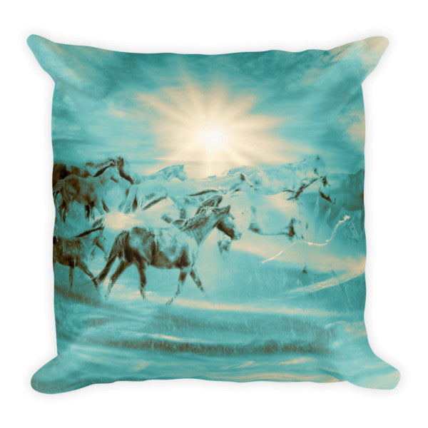 Turquoise Run in Spirit Throw Pillow