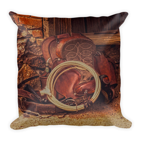 Head Wrangler's Saddle Throw Pillow