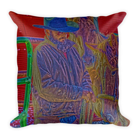 Retro Vintage Cowboy Throw Pillow