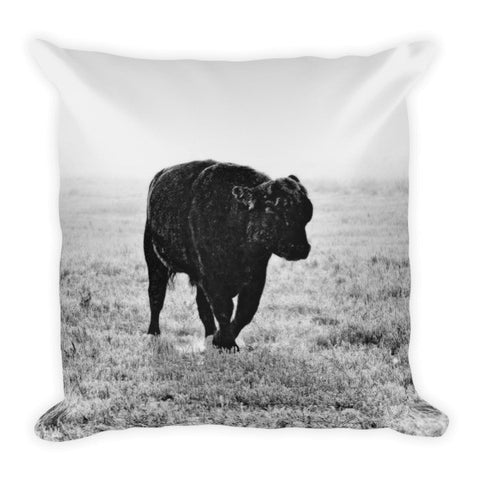 Bull After Ice Storm Throw Pillow
