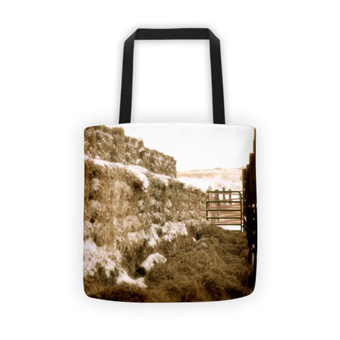 Winter Feed Lot Horizontal Tote bag