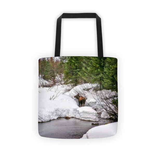 Moose in Alaska Tote bag