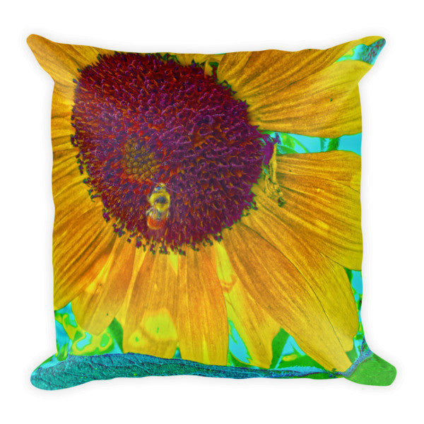 The Sunflower And The Bee Throw Pillow