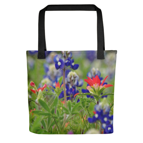 Blue Bonnets and a Paintbrush Tote bag