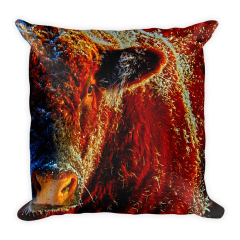 Bull on Ice Throw Pillow