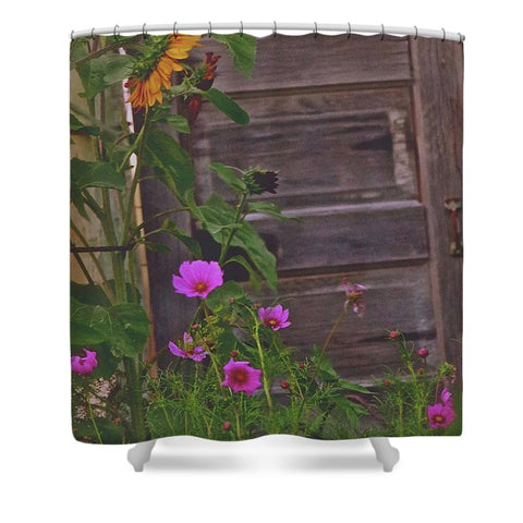 Old Kitchen Door And a Cottage Garden Shower Curtain