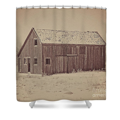 Old Wood Reed's Place Shower Curtain