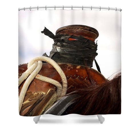 Open Range Roping Saddle Shower Curtain
