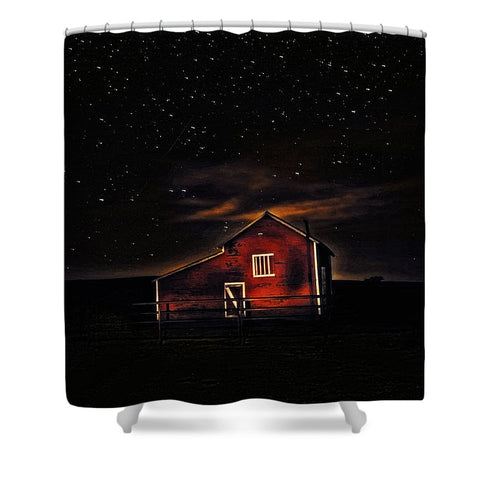 Red Barn at Midnight Shower Curtain