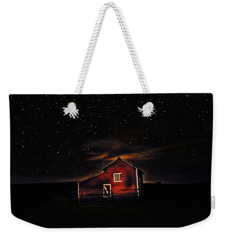 Red Barn at Midnight Weekender Tote bag