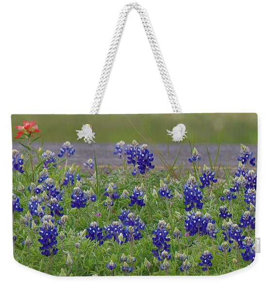Red Paint Over Blue Bonnets Weekender Tote Bag