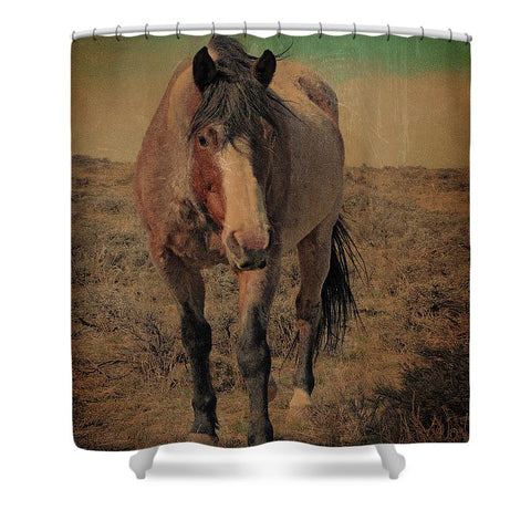 Red Roan and Sage Brush Shower Curtain