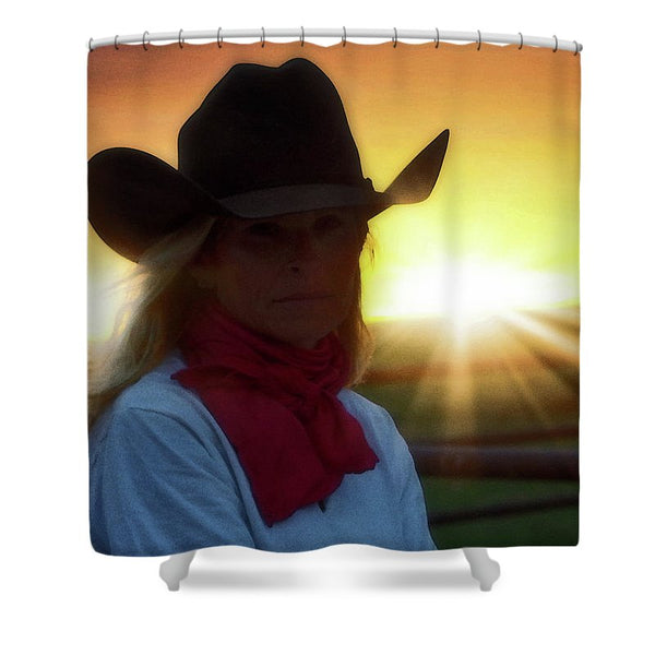 Red Scarves and Sunsets Shower Curtain
