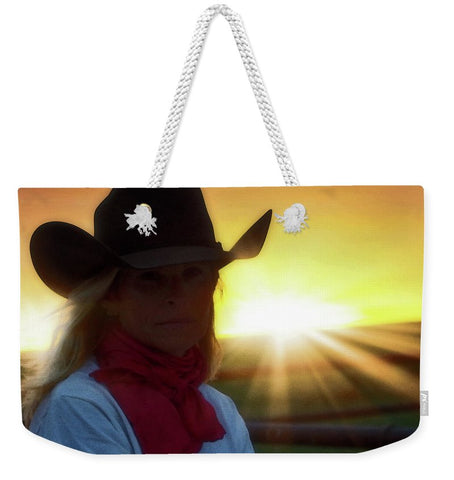 Red Scarves and Sunsets Weekender Tote bag
