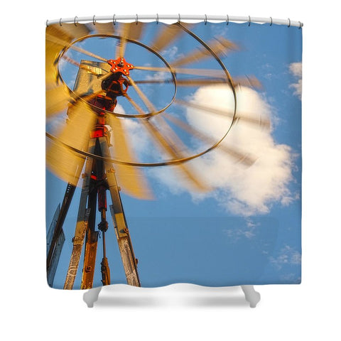 Red Wind Windmill Shower Curtain