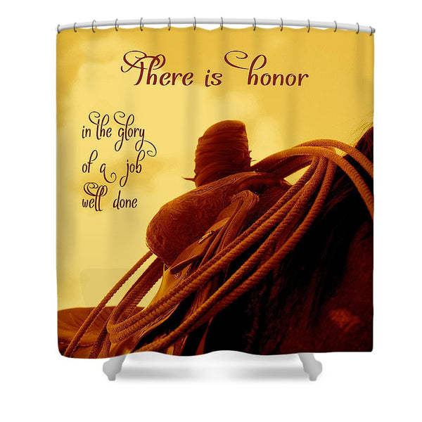 Rested Western Saddle Shower Curtain