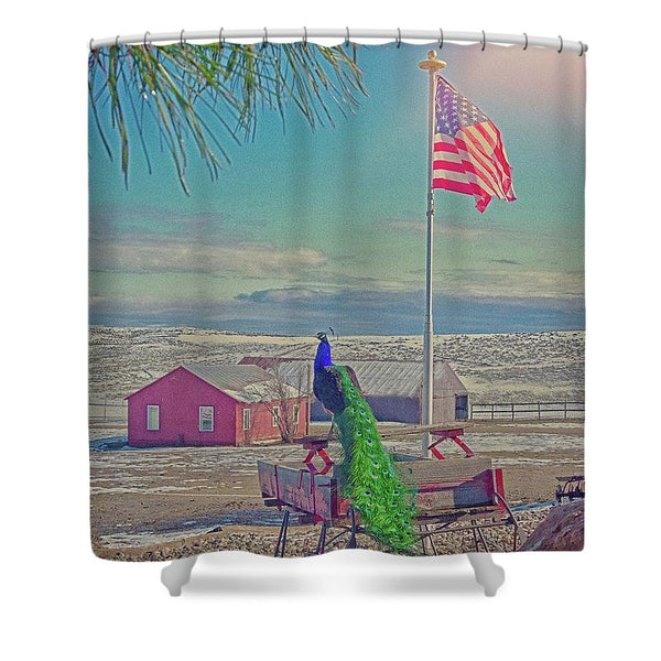 Roger and The American Flag Shower Curtain