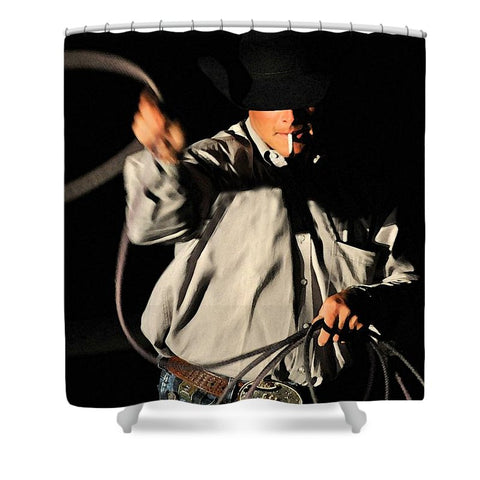 Ropin' Smoke Shower Curtain