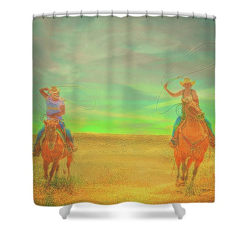 Ropin' Two Shower Curtain