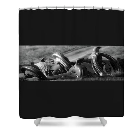 Saddles at the Ready Shower Curtain