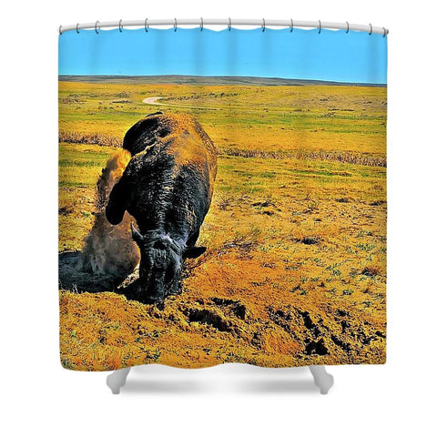Saturated Sand Wave Shower Curtain