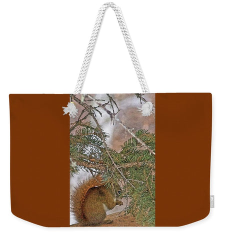 Squirrel, Pine Tree and a Nut Weekender Tote bag